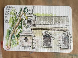 St Luke's, from the J+A Café, Whitecross Street