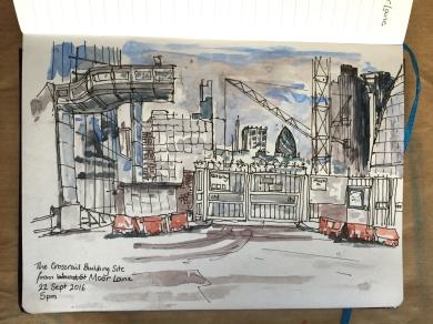 The Crossrail site, Moor Lane, City of London