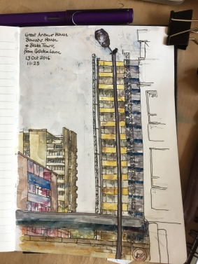 Great Arthur House, Bowater House and Blake Tower, from Golden Lane