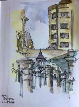 Gaslights, near Newgate Street.