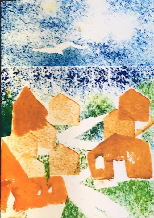 Seaside Town, Potato Print
