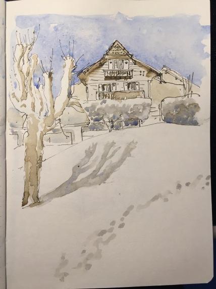 Snowfield behind The Temple, Place du Temple, Sainte Coix, Vaud,