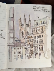 St Mary Aldermary from Queen St EC4