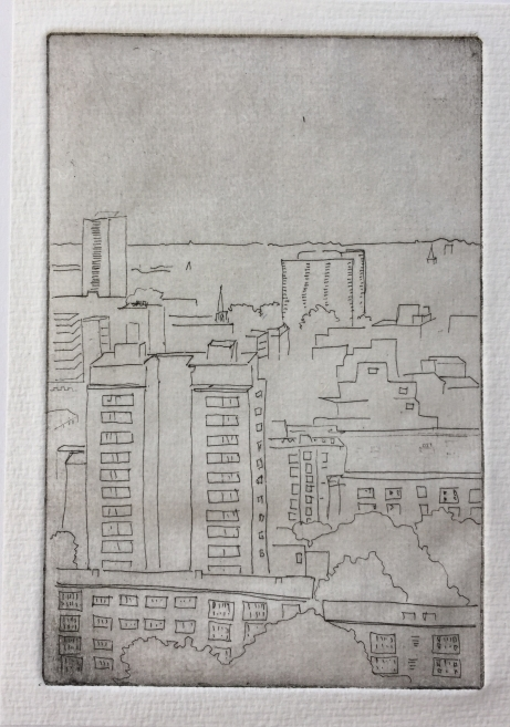 """Towers West"" print: hard ground etching"