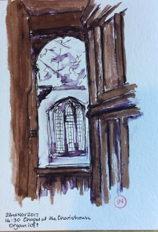 From the Organ loft 22 Nov 2017 14:40, pen and coloured ink. 40min