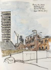 Finsbury Tower across the YMCA site, Errol Street