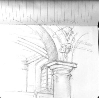 Pencil sketch of the columns in the chapel. 22 Nov 2017, 1:45 (1hr 15)