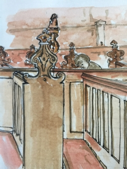 Chapel pews, pen and wash, 28th November 2017 15:14