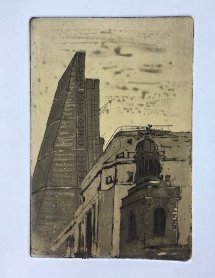 Etching: The Cheesegrater and St Katharine Cree