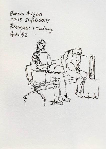 People waiting at Geneva airport