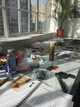 My work area at East London Printmakers
