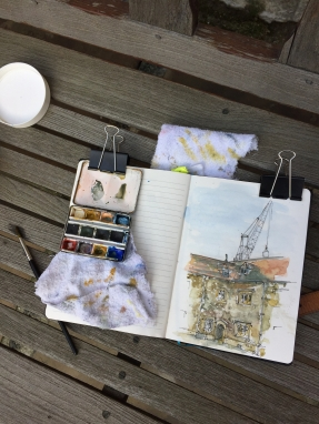 Paintbox clipped to the top of the sketchbook