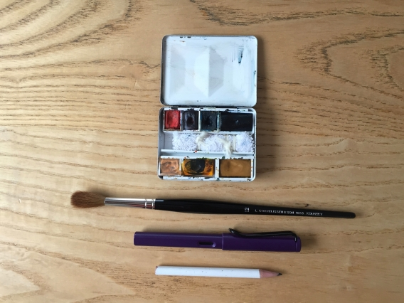 Essential tools: paint, brush, pencil