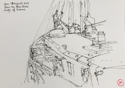 A line drawing, from the benches at back of the boat.