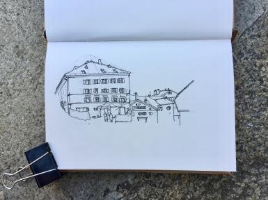 Work in progress on the drawing of the Hôtel de France