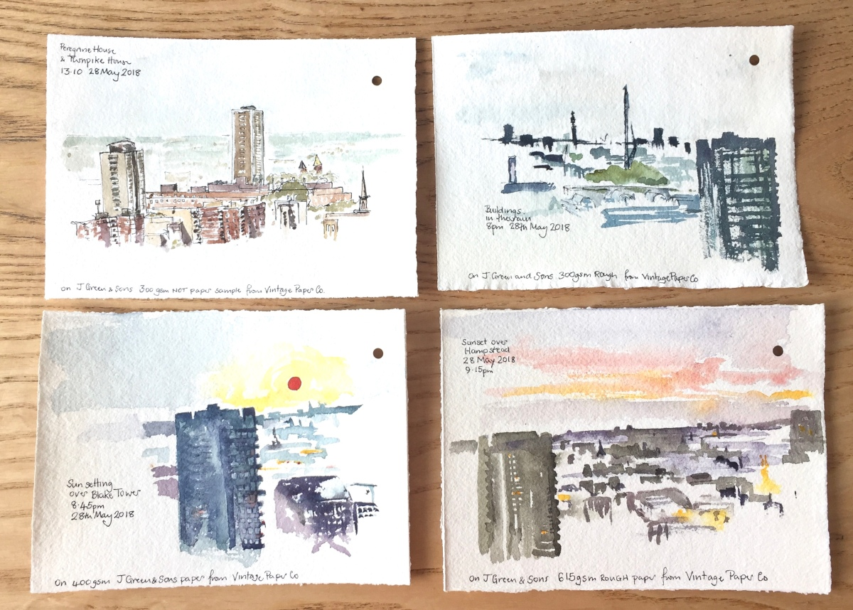 Four sketches while the sun set