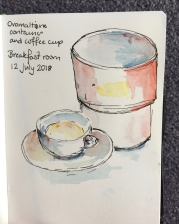 Breakfast: Ovomaltine container and cup, done with watercolour sticks.
