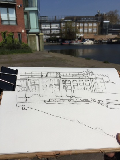 Working on the drawing in Graham St Garden
