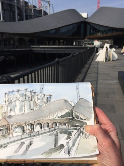 Working on the drawing in Coal Drops Yard