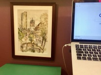 Cromwell Tower print in an office