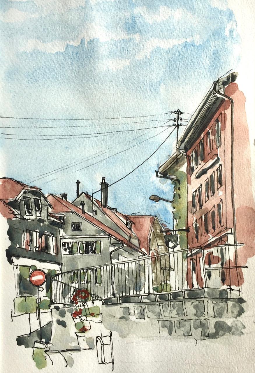 Sketching in Sainte-Croix, Vaud, July2019