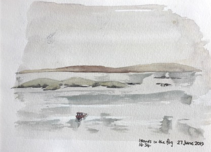 Islands in the fog, Holm of Briebister