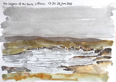 Lagoon of the seals, postcard sketch.