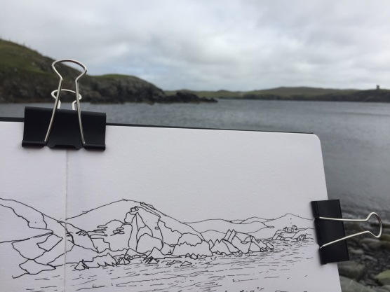 Drawing the rocks. Muckleberry Tower is just visible, on the right in the distance.