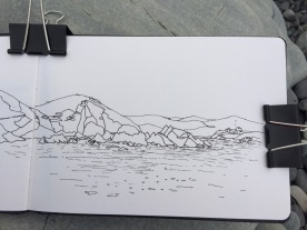 Drawing the rocks.