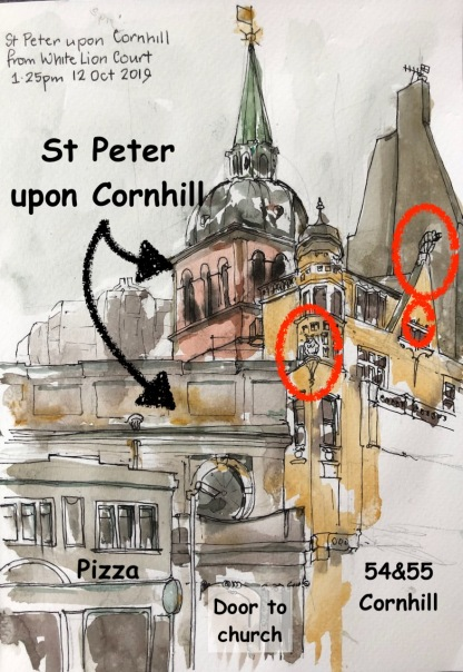 The church in among other buildings. The devils are circled in red.