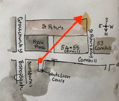 Map showing the buildings as seen in the drawing. Arrow shows the line of sight.