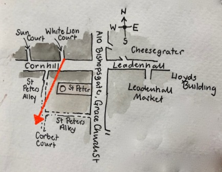 map with North at the top. Arrow shows the line of sight of the drawing.