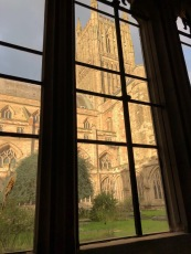 View from the cloisters, through the glazing.