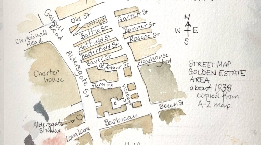 My sketch map of the former street layout, from the maps.