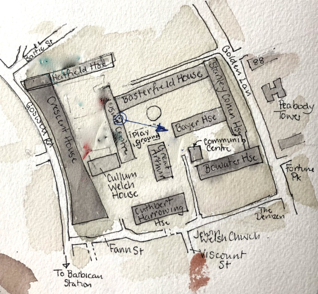 Golden Lane Estate, blue arrow shows sightline of my drawing.