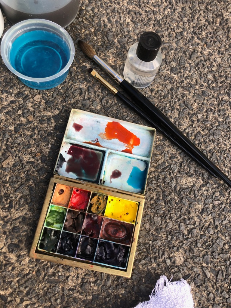 Art materials on the concrete.